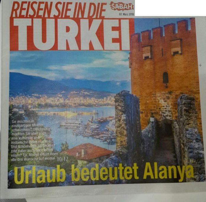 """Sabah Almanya gazetesi """"Tatil demek Alanya demek"""" sloganıyla Alanya'ya geniş yer verdi."""