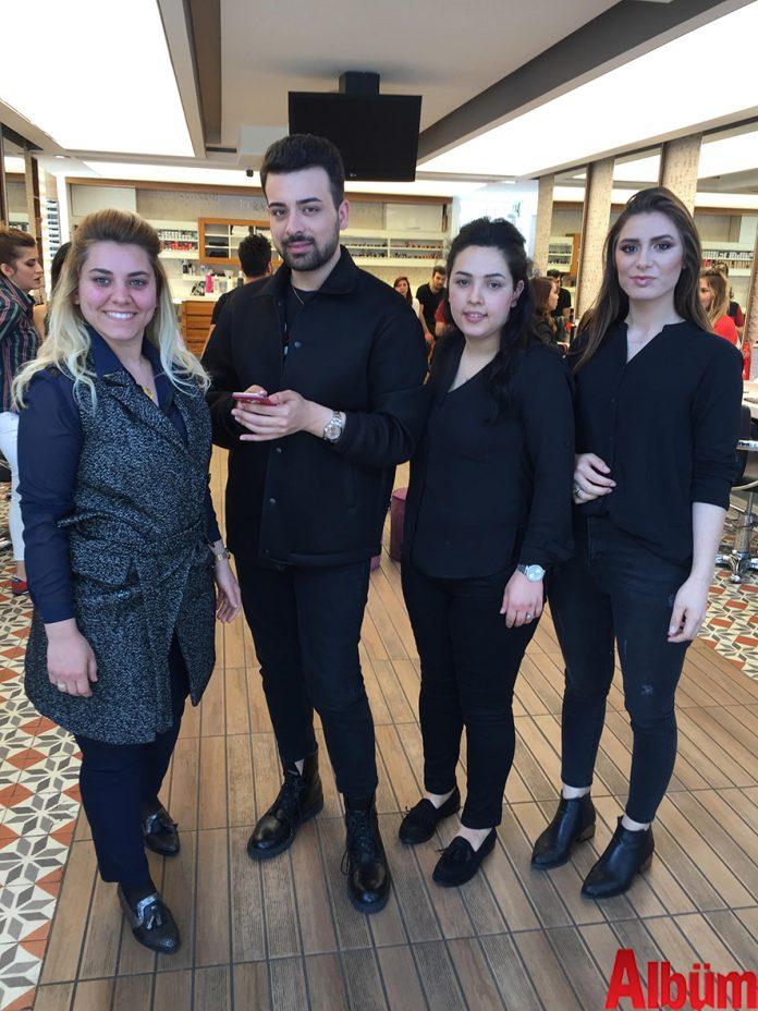 Hüsnü Yüksel Kuaför çalışanları ünlü makyaj artisti Serhat Şen ile birlikte.