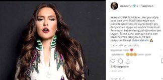 """Şarkıcı Demet Akalın, katıldığı magazin programında İrem Derici'nin haberini görünce """"Bu kız hakkında konuşmak istemiyorum, sevmiyorum çok saygısız biri."""" dedi. Akalın'a Instagram'dan cevap veren İrem ise """"Sarma bana, sarmayın bana"""" dedi."""