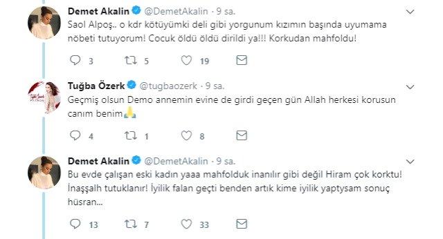 Şarkıcı Demet Akalın'ın Acarkent'teki lüks villasına hırsız girdi. Çiftin evine giren hırsızın, evlerinde eskiden çalışan bir kadın olduğu ortaya çıktı.