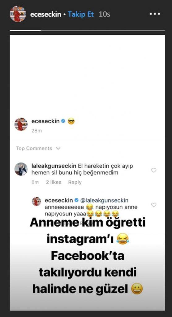 Sahnede yaptığı parmak hareketinin fotoğrafını sosyal medya hesabından paylaşan Ece Seçkin, annesinden azar işitti.