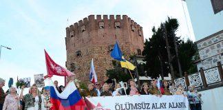 Sovyetler Birliği'nin İkinci Dünya Savaşı'nda Nazi Almanyası'nı mağlup etmesinin 74. yıl dönümü Alanya'da da kutlandı.